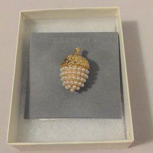 Talbots Pearl Acorn Pin